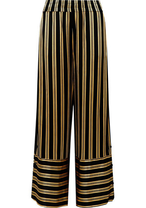 By Malene Birger - Brinni Striped Satin Wide-leg Pants - Black