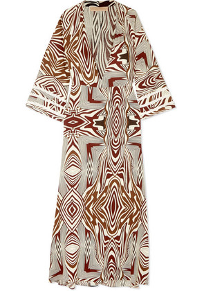Melissa Odabash - Loulou Crochet-trimmed Printed Poplin Maxi Dress - Brown