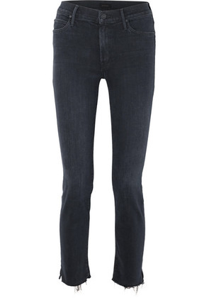 Mother - The Rascal Cropped Frayed Mid-rise Slim-leg Jeans - Black