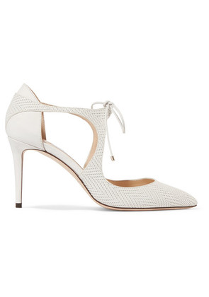 Jimmy Choo - Vanessa 100 Cutout Embossed Leather Pumps - White