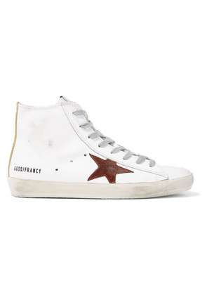 Golden Goose Deluxe Brand - Francy Distressed Leather And Suede High-top Sneakers - White