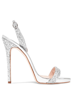 Giuseppe Zanotti - Coline Glittered Metallic Leather Slingback Sandals - Silver
