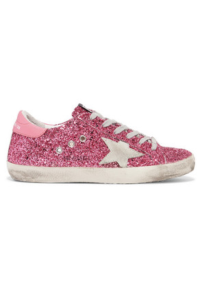 Golden Goose Deluxe Brand - Superstar Distressed Glittered Leather Sneakers - Pink