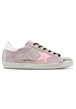 Golden Goose Deluxe Brand - Superstar Distressed Glittered Suede And Leather Sneakers - Silver