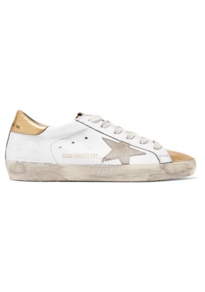 Golden Goose Deluxe Brand - Superstar Distressed Metallic Leather Sneakers - Off-white