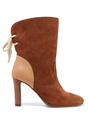 See By Chloé - Lara Leather-trimmed Suede Ankle Boots - Camel