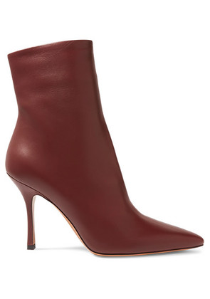 The Row - Gloria Leather Ankle Boots - Burgundy