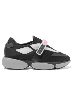 Prada - Cloudbust Rubber And Leather-trimmed Mesh Sneakers - Black