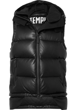 TEMPLA - Tuscan Hooded Quilted Leather Down Gilet - Black