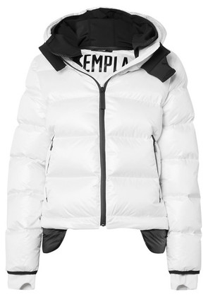 TEMPLA - 10k Nano Gloss Hooded Quilted Shell Down Jacket - White