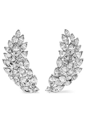 Kenneth Jay Lane - Silver-tone Crystal Clip Earrings - one size