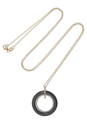 Mateo - Connecting Circle 14-karat Gold, Onyx And Diamond Necklace - one size