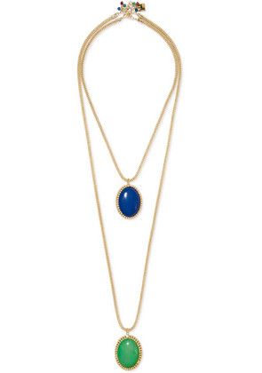 Rosantica - Vita Set Of Two Reversible Gold-tone Resin Necklaces - one size