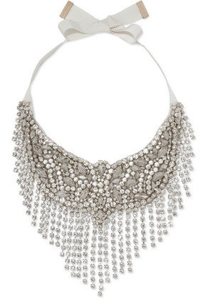 Etro - Crystal And Grosgrain Necklace - Silver