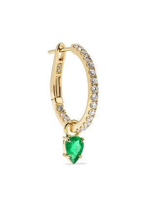 Jemma Wynne - 18-karat Gold, Diamond And Emerald Hoop Earring - one size