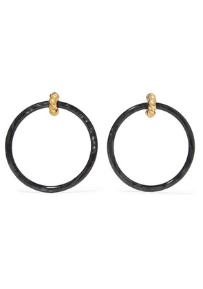Balenciaga - Gold-tone Resin Hoop Earrings - Black