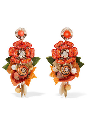 Ranjana Khan - Helios Gold-tone And Silk Multi-stone Clip Earrings - Orange