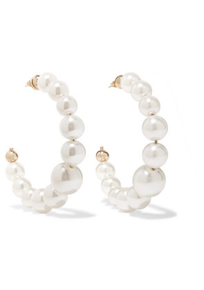 Rosantica - Vapore Gold-tone Faux Pearl Hoop Earrings - White