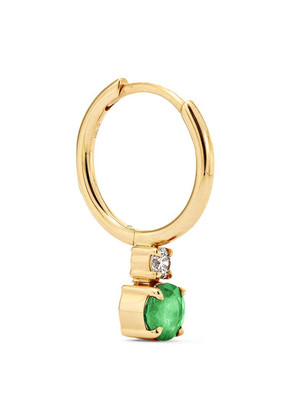 Jemma Wynne - 18-karat Gold, Emerald And Diamond Hoop Earring - one size