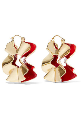 Ellery - Beton Curl Gold-plated And Enamel Earrings - one size