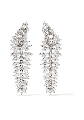 Kenneth Jay Lane - Rhodium-plated Cubic Zirconia Earrings - Silver