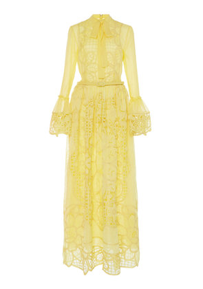 Costarellos Bow Tie-Detailed Broderie Anglaise Maxi Dress