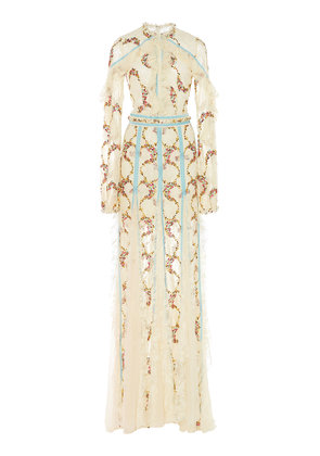 Costarellos Ruffled Floral-Embroidered Lace Gown