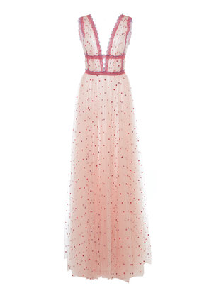 Costarellos Lace-Trimmed Flocked Tulle Gown