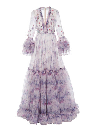 Costarellos Tiered Embellished Printed Organza Gown