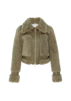 Zimmermann Cropped Leather-Trimmed Shearling Jacket