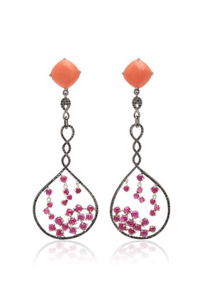 Wendy Yue 18K Gold Coral Ruby And Diamond Earrings