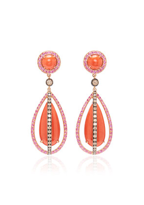 Wendy Yue 18K Gold Coral Sapphire And Diamond Earrings