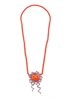 Wendy Yue 18K Gold Coral And Sapphire Necklace