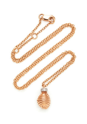 RENNA Thread and Shell 18K Rose Gold Diamond Necklace