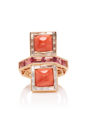Wendy Yue 14K Rose Gold Coral Tourmaline And Diamond Ring
