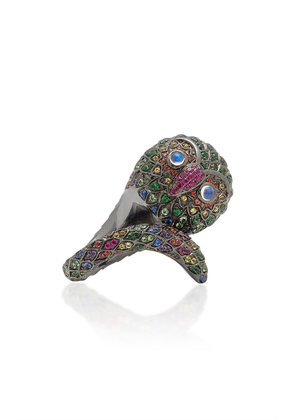 Lynn Ban Jewelry Black Rhodium-Plated Silver And Multi-Stone Ring