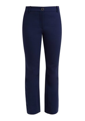 Valentino - Mid Rise Wool Blend Flared Trousers - Womens - Navy