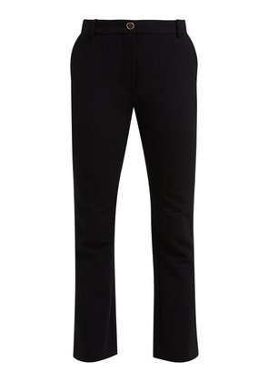 Valentino - Mid Rise Wool Blend Flared Trousers - Womens - Black