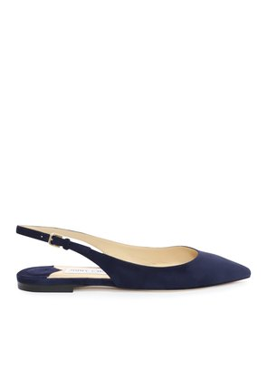 ERIN FLAT Navy Suede Slingback Flats