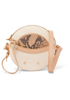 See By Chloé - Rosy Textured And Snake-effect Leather Shoulder Bag - Beige