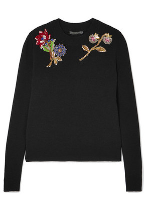 Alexander McQueen - Embellished Embroidered Wool Sweater - Black