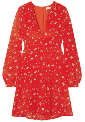 RIXO - Harper Floral-print Silk Crepe De Chine Mini Dress - Red