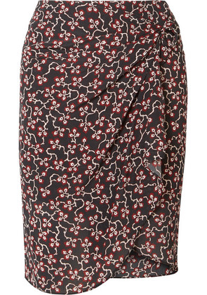 Isabel Marant - Livia Draped Printed Silk Crepe De Chine Mini Skirt - Black