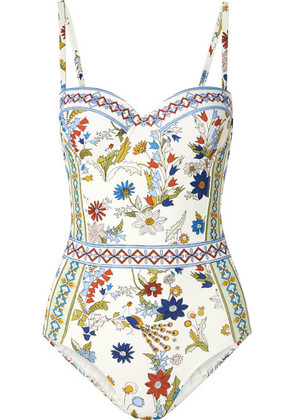 Tory Burch - Meadow Folly Printed Underwired Swimsuit - White