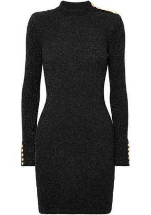Balmain - Button-embellished Metallic Stretch-knit Mini Dress - Black