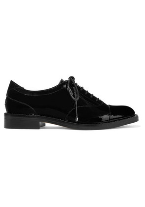Jimmy Choo - Reeve Crystal-embellished Patent-leather Brogues - Black