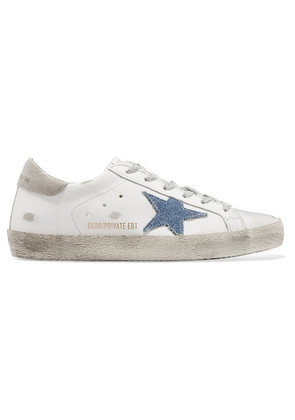 Golden Goose Deluxe Brand - Superstar Distressed Leather And Denim Sneakers - White