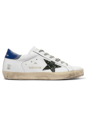Golden Goose Deluxe Brand - Superstar Glittered Distressed Leather Sneakers - White