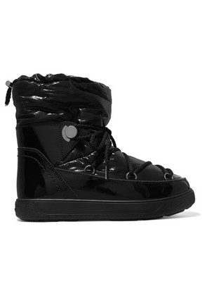 Moncler - Shell And Patent-leather Snow Boots - Black