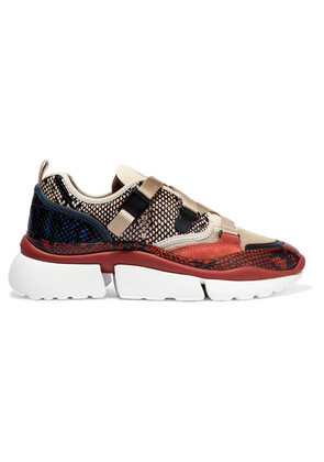 Chloé - Sonnie Canvas, Mesh, Suede And Leather Sneakers - Snake print